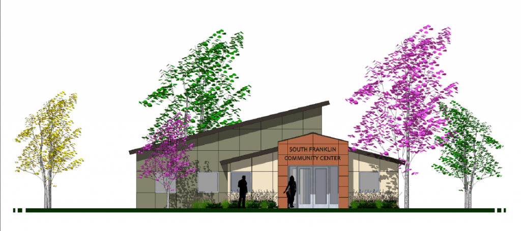 Elevation drawing of South Franklin Community Center