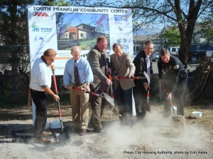Groundbreaking of the South Franklin Community Center: L to R Larry Kocherhans, Horizon Management; Douglas Carlson, Provo City Housing Authority; Bill Hulterstrom, United Way of Utah County; Mayor John Curtis, Provo City; Val Hale, Habitat for Humanity of Utah County; Chief Rick Gregory, Provo City Police Department